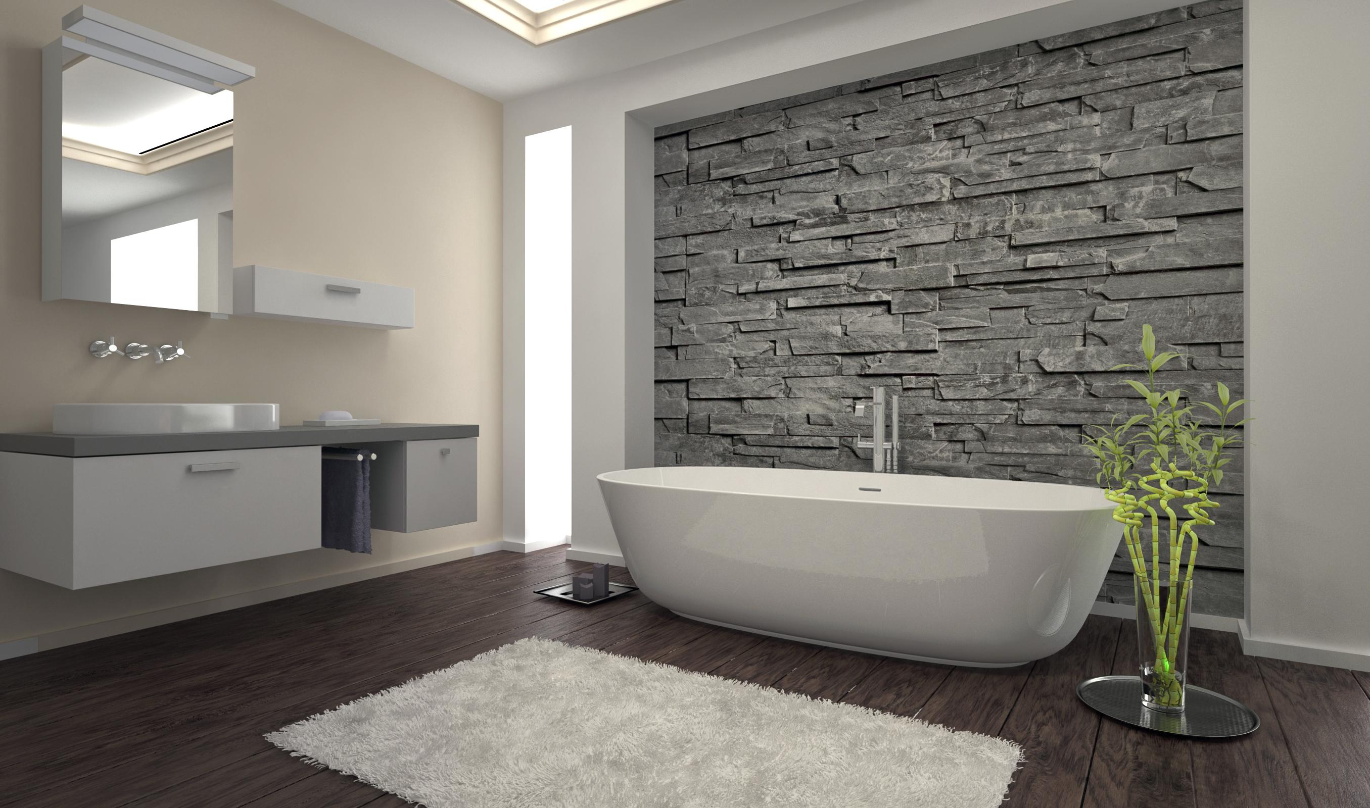 Badkamer hout steen