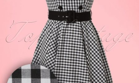 50s Bridget Gingham Swing Dress in Black and White