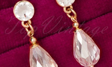 50s Girls Love Diamonds Gold Plated Drop Earrings