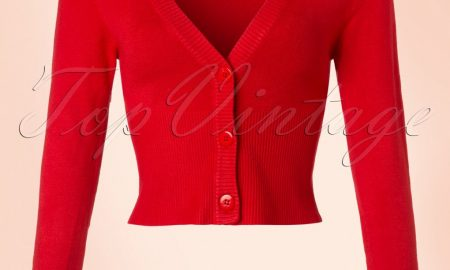 50s Lets Go Dancing Cardigan in Lipstick Red