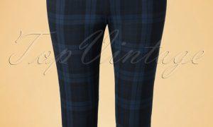 50s Livingstone Tartan Cigarette Trousers in Navy