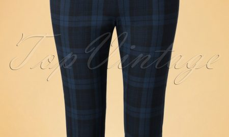 50s Livingstone Tartan Cigarette Trousers in Navy