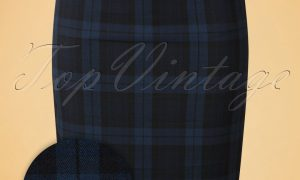 50s Livingstone Tartan Pencil Skirt in Navy