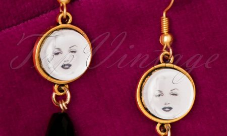 50s Marilyn Crystal Gold Plated Drop Earrings
