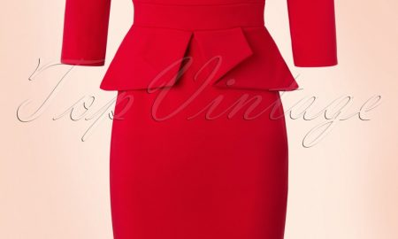 50s Paloma Peplum Pencil Dress in Lipstick Red