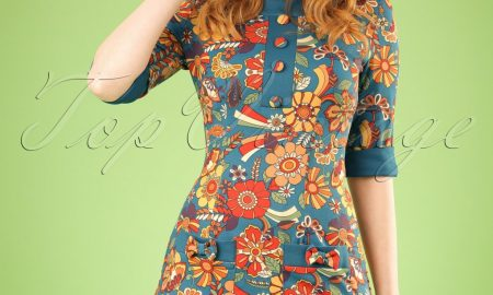 60s Didi Floral Dream Dress in Petrol Blue
