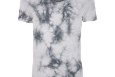 Grijs aansluitend tie-dye T-shirt met V-hals