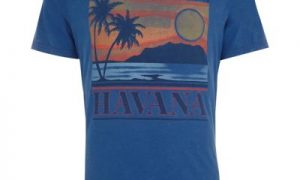 Jack and Jones - Blauw T-shirt met vintage 'Havana'-print
