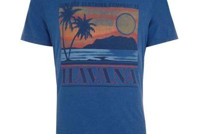 Jack and Jones - Blauw T-shirt met vintage 'Havana'-print