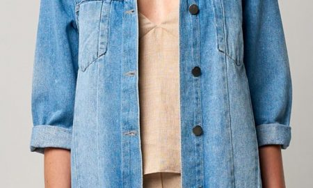 Cropped Sleeve Side Slit Denim Jacket