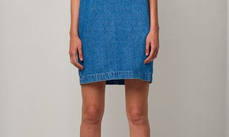 Cut Out Shoulder Denim Dress
