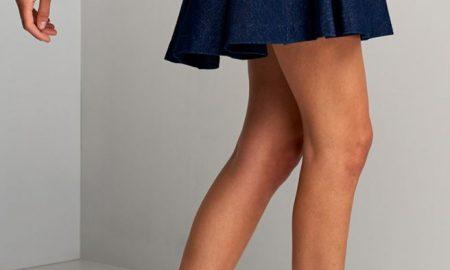Jersey Denim Skater Skirt
