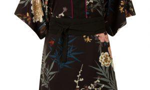 Kimonojurk met bloemen Zwart Steps