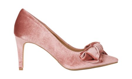 Velvet pump met strik Roze Steps