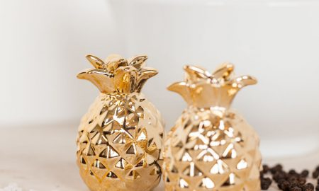 Gouden ananas peper- en zoutvaatjes