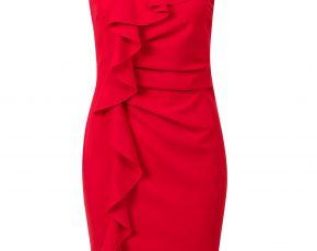 Aansluitende jurk met ruffels Rood Steps