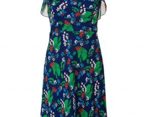 Jurk met bloemen en ruffels Blauw Steps